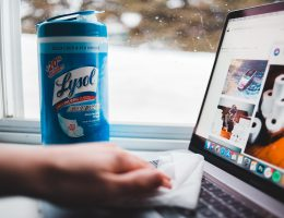 disinfecting laptop with lysol