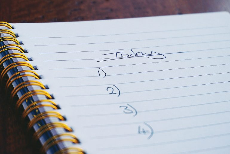 """A to-do list, marked """"today"""""""