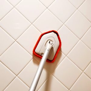 cleaning-shower-with-oxo-tub-and-tile-brush-and-dawn-dish-soap