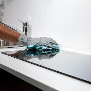 Cleaning a kitchen stove top