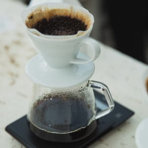 A traditional pour over coffee